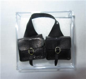 Dollhouse Miniature Saddlebags Blk Leather Handcrafted 1//12th Prestige Leather