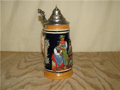 vintage 5 3 4 mini german lidded stein auf der alm da dbgm ebay. Black Bedroom Furniture Sets. Home Design Ideas