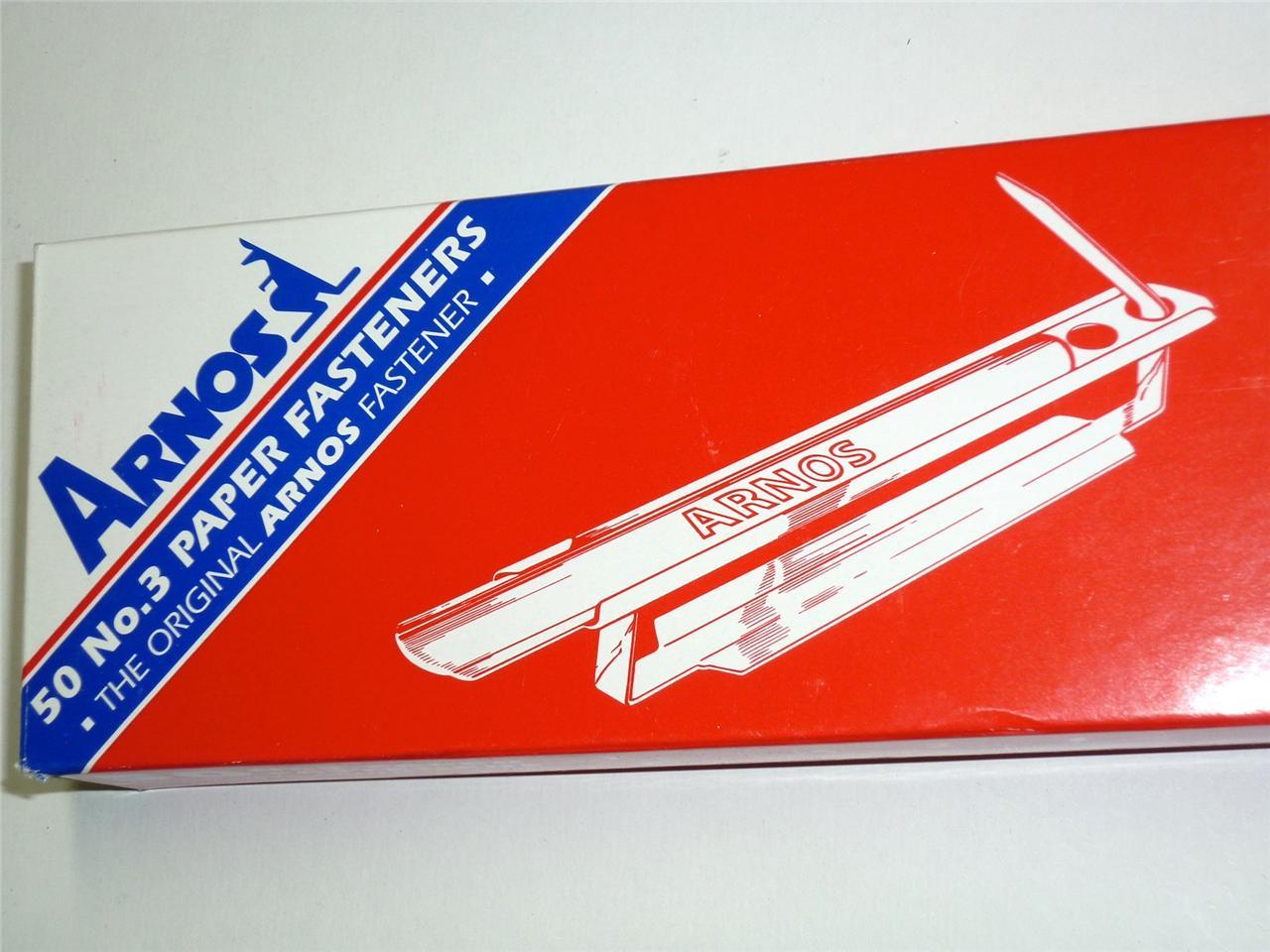 Arnos No.3 Paper Fasteners box 50 document file binder fasteners