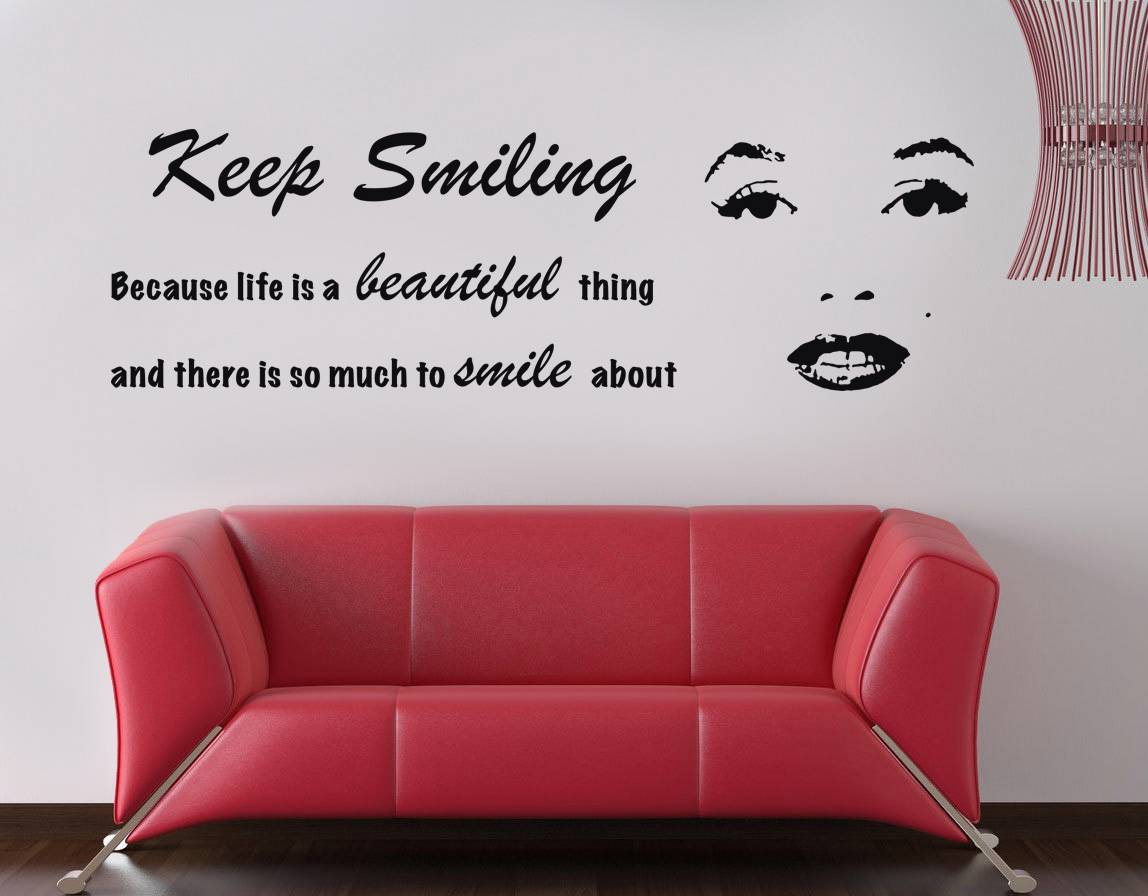 Keep Smiling Marilyn Monroe Inspirational Quote Decal Wall