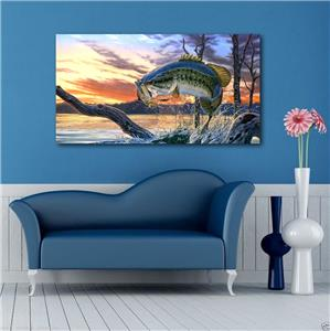 4 Sizes Large Mouth Bass Fish Canvas Print Wall Decor Art Giclee Nature Scenery Ebay