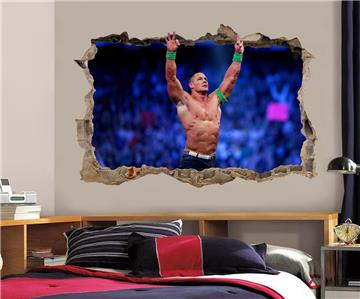 John Cena Smashed Wall 3D Effect Decal Removable Wall Sticker Art
