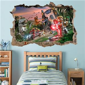 Jurassic World Lego Smashed Wall Decal Removable Wall Sticker Art Mural H333 Ebay