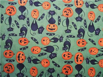 scaredy cats black cat pumpkin green wilmington halloween fabric yard ebay. Black Bedroom Furniture Sets. Home Design Ideas