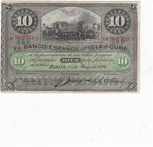 Dear Er We Offer You This C U B A Banknote 10 Pessos 1896 The Is In Vf Condition For More Information Please Look At Pictures