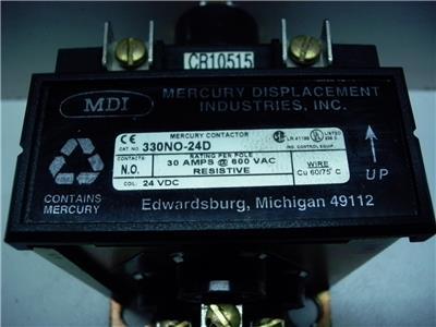 MDI 330NO-24D 24VDC COIL 3POLE 30AMP 600V MERCURY CONTACTOR QUANTITY!!