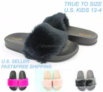 low price another chance release info on Details about Kids Girls Slides Furry Slippers Shoes Faux Fur Slip-On Flip  Flop Open Toe