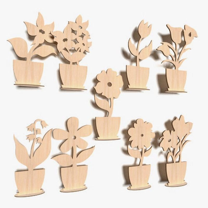 10x Wooden Flowers Plain Stand Shapes Gift Tags Blank Decoration Craft Shape FL