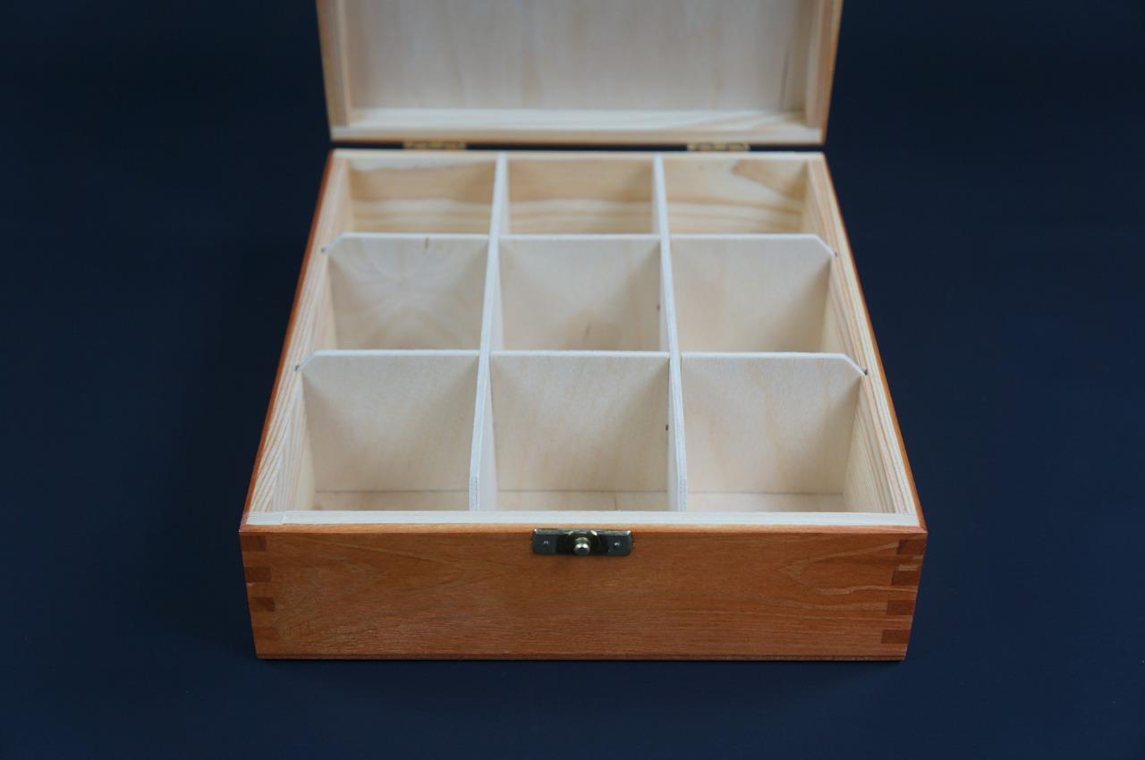 1x Brown Wooden Tea Box Tea Caddy Kitchen Chest 2 Compartments Storage H2b