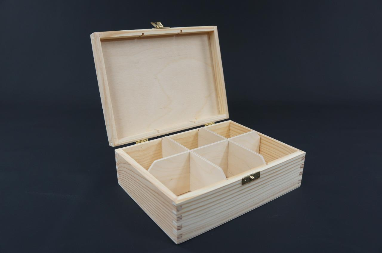 1x Plain Wooden Tea Box Tea Caddy Kitchen Chest 6 Compartments Storage H6