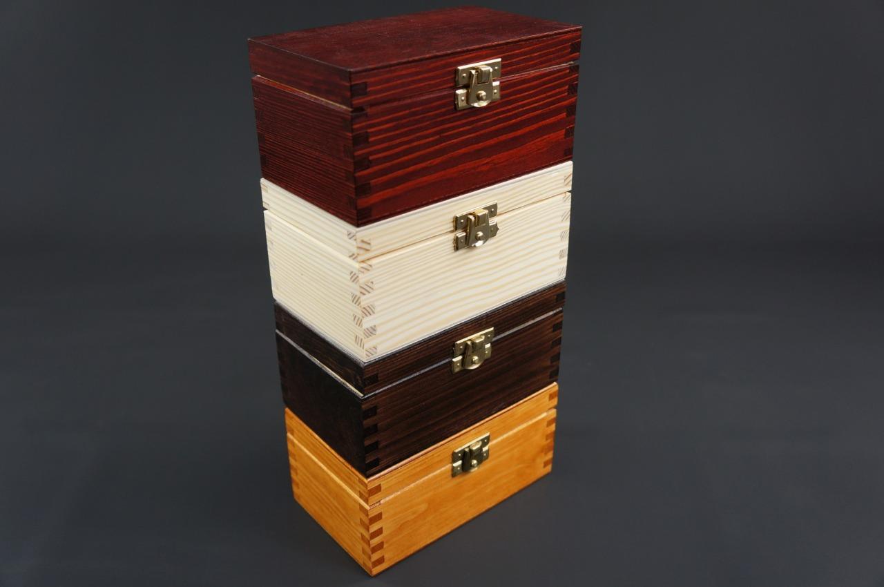1x Plain Wooden Tea Box Tea Caddy Kitchen Chest 2 Compartments Storage H2