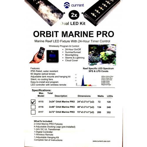 Orbit Marine Pro X2 Dual Strip Led Aquarium Fixture 48