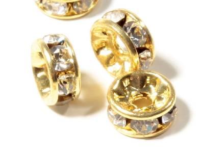 Lot 50 Vintage Czech Crystal Glass Rhinestone Gold Tone