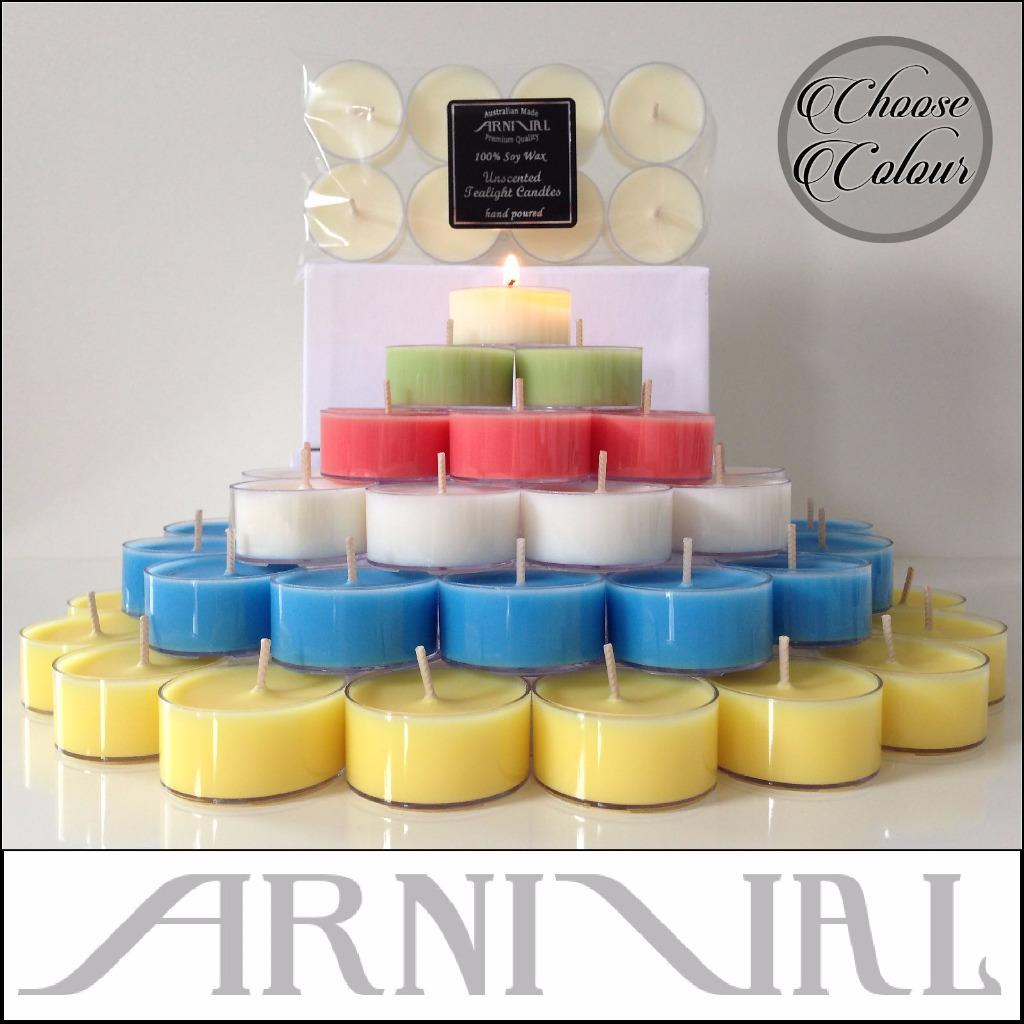 Unscented Natural Soy Wax Tealight Candles Long Lasting