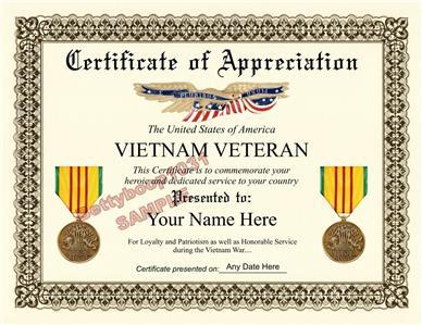 Vietnam Veteran Certificate Of Appreciation 8 5 By 11