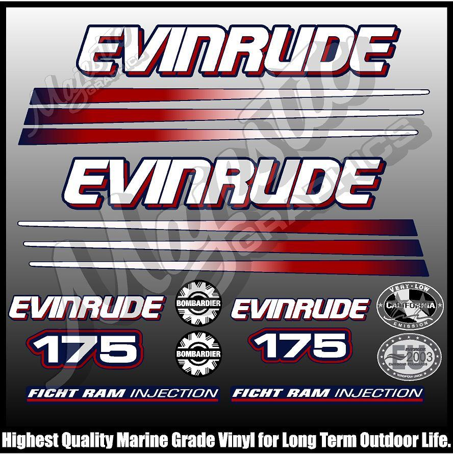 Details about EVINRUDE 175 hp - BOMBADIER - BLUE MOTOR - OUTBOARD DECALS