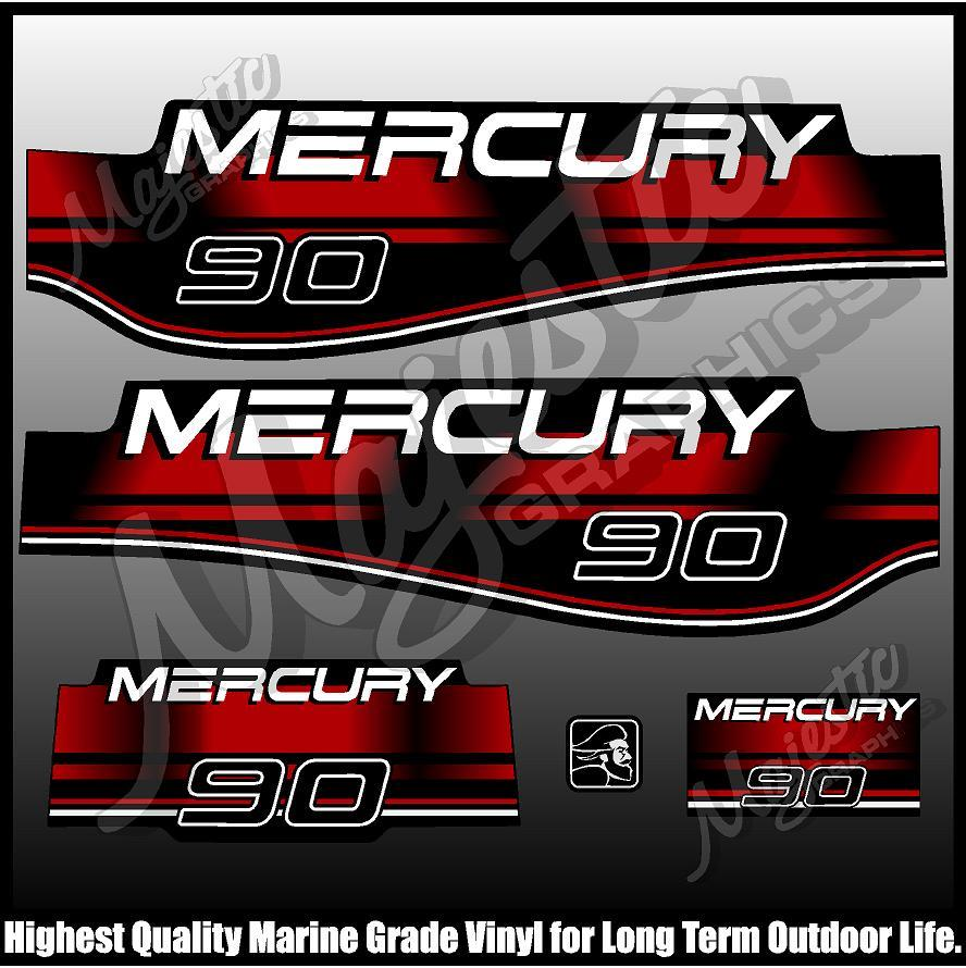 Mercury 90 Four 4 Stroke Decal Kit Outboard Engine Graphic Motor Stickers SILVER