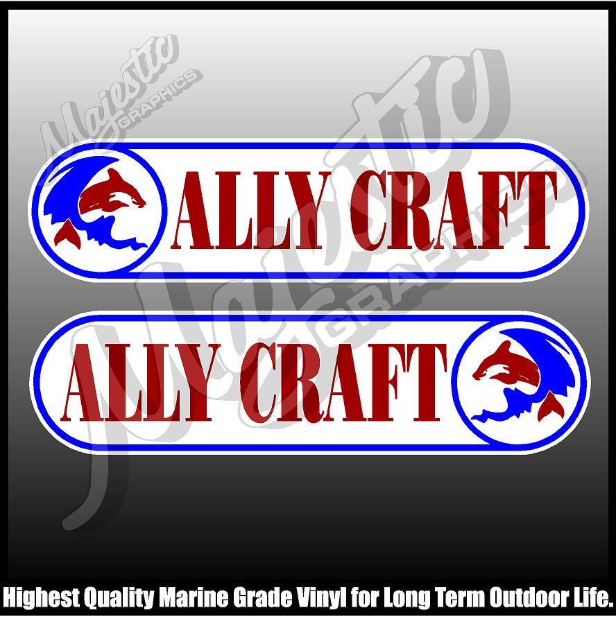 430mm X 105mm X 2 ALLYCRAFT LEFT /& RIGHT PAIR BOAT DECALS
