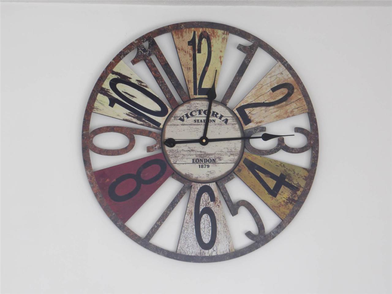 60cm Large Wall Clock Wooden Vintage Antique Style Retro