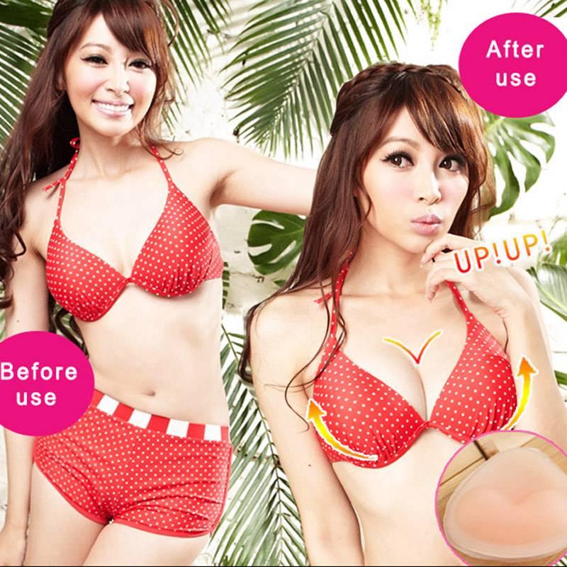 Pair Soft Bikini Bra Insert//Silicone Triangle Pads Enhancer//Swimsuit Push-up Hot
