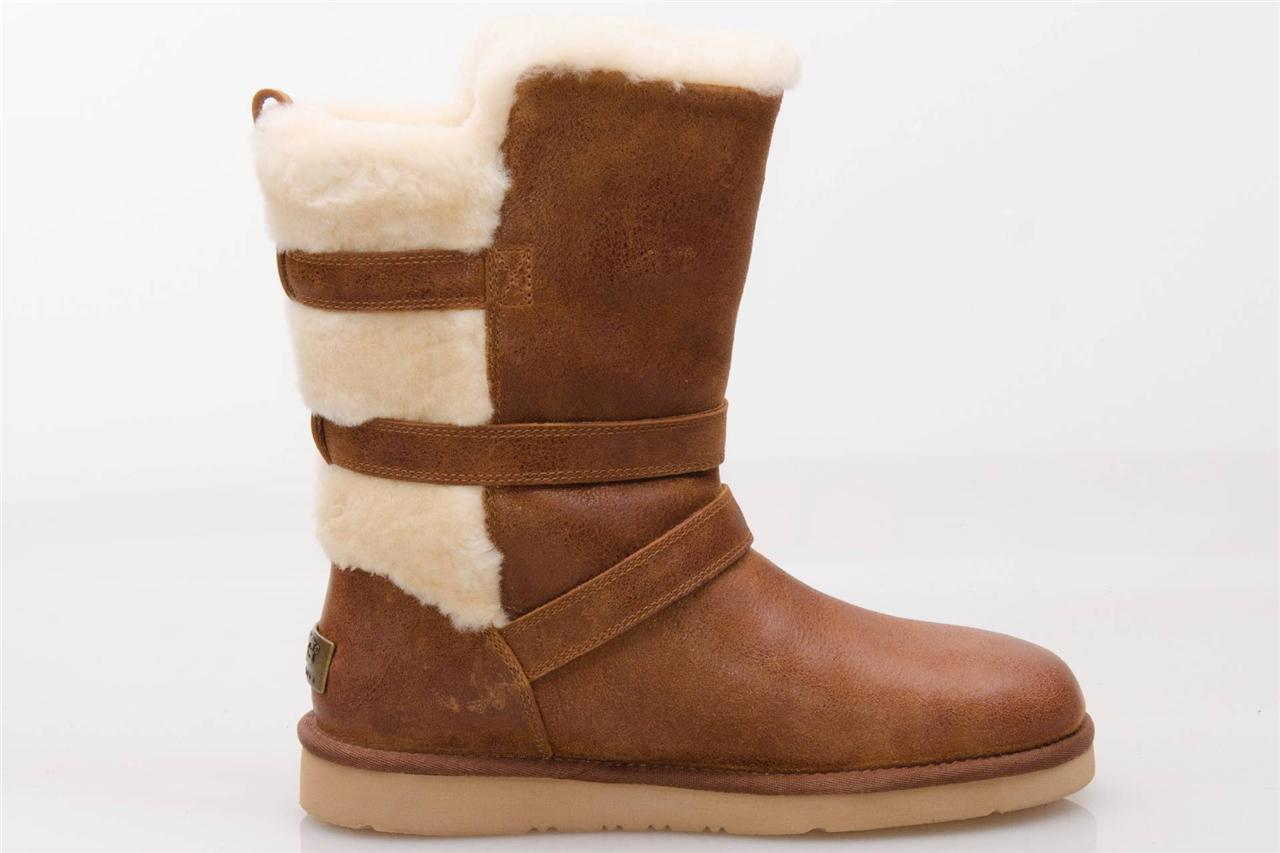 UGG BECKET BROWN LEATHER / SHEEPSKIN BUCKLE WINTER BOOTS