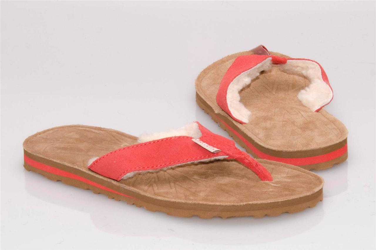 ugg tasmina red tomato suede flip flop sandals size us 8 uk 6 5 eu 39 new ebay. Black Bedroom Furniture Sets. Home Design Ideas