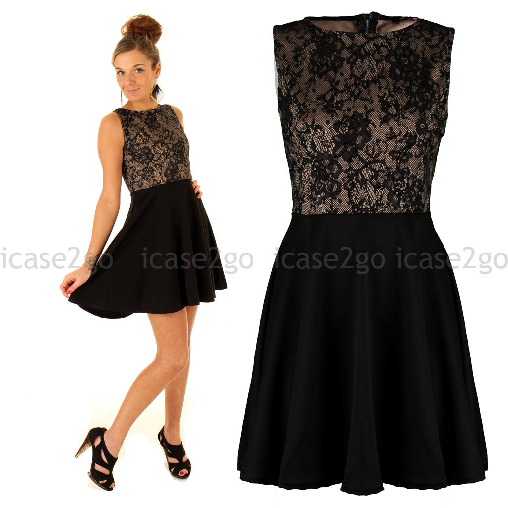 Womens Ladies Celebrity Zipped LBD Little Black Lace ...
