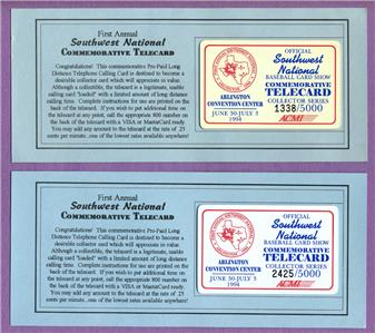 Details About 2 1994 Southwest National Baseball Card Show Arlington Tx Phone Cards 5000
