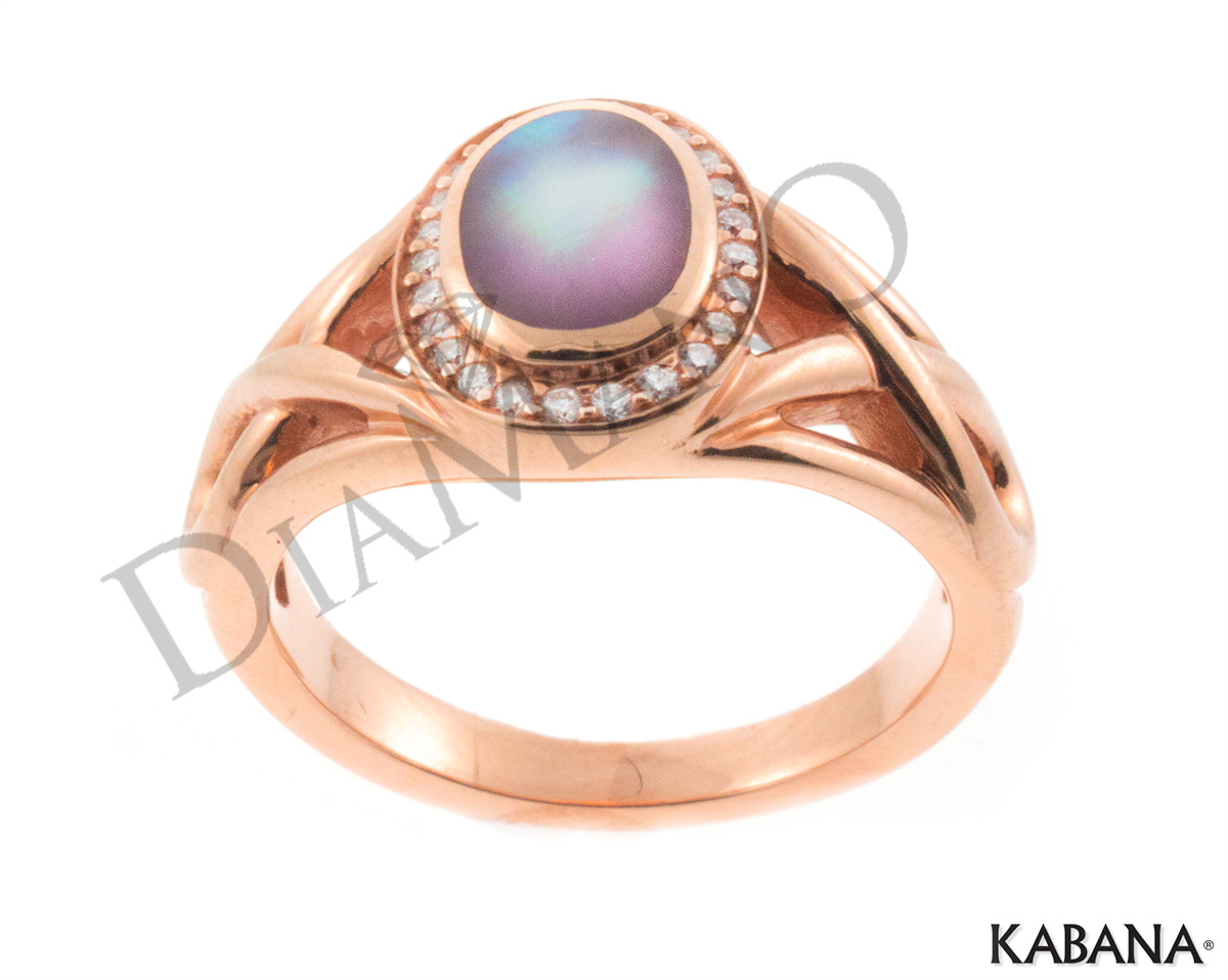14k Rose Gold Kabana Inlay Pink Mother Of Pearl Ring W 0
