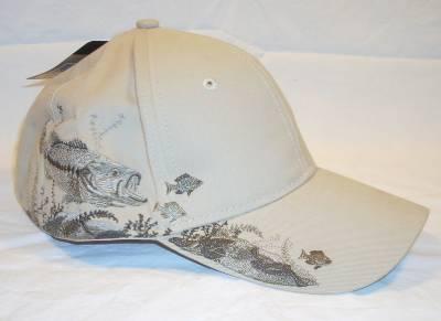 Dri Duck Walleye Fishing Baseball Hat 6 Panel Cap Pre-Curved Visor Khaki