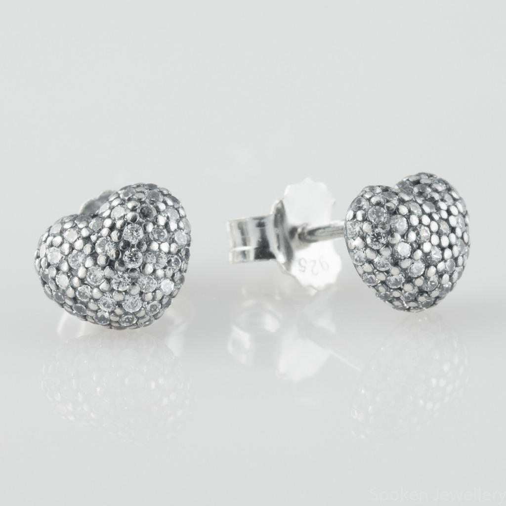 Pandora Silver Stud Earrings: Authentic Pandora Heart Shaped Silver Stud Earrings W