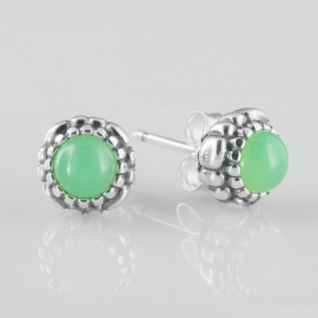 Pandora Silver Stud Earrings: Authentic Pandora Silver Stud Earrings W/Chrysoprase May