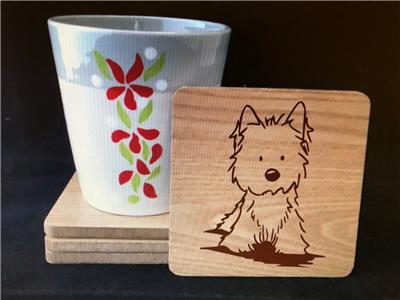 NEW WEST HIGHLAND TERRIER WESTIE GIFT// PRESENT - SET OF 4 FUN COASTERS