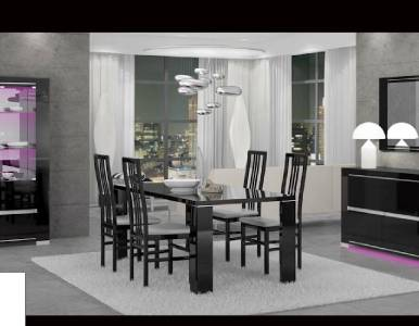 Armonia Glossy Black Lacquer Dining Room Set Made In Italy