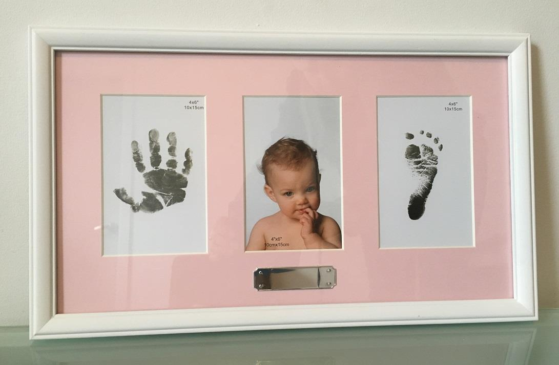 Newborn-Baby-Triple-Photo-Frame-Can-Display-Photo-amp-Babies-Feet-amp-Hand-Prints
