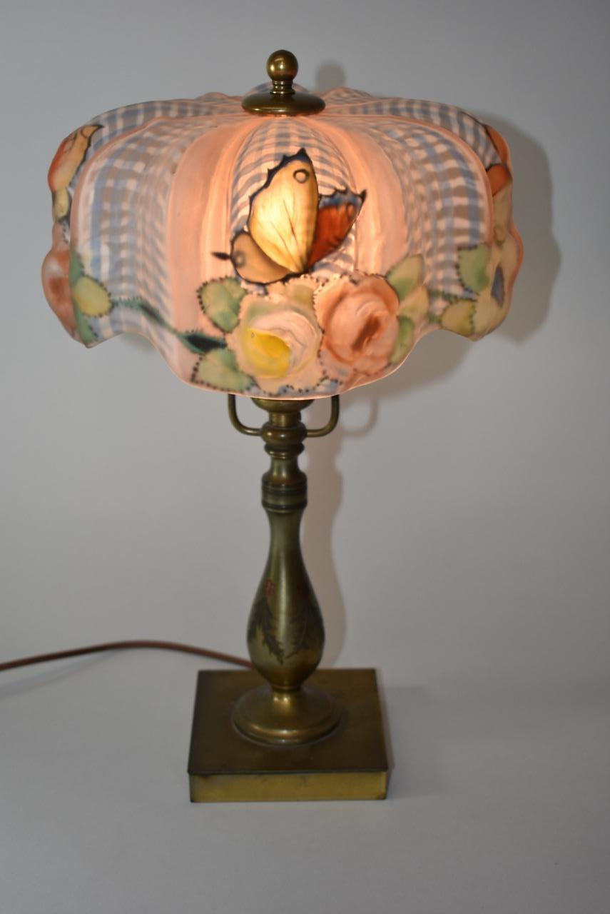 Antique Signed Pairpoint Reverse Painted Puffy Lamp With 4