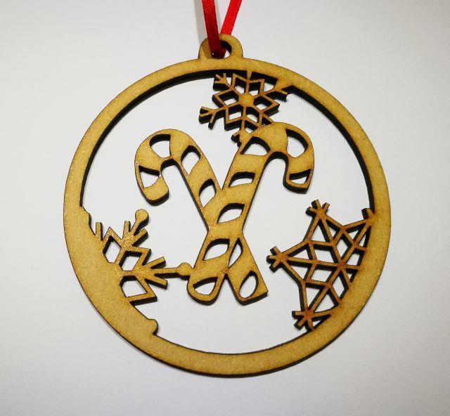 x10 WOODEN CHRISTMAS BAUBLE DECORATION Shape B 7.5cm laser cut wood shapes