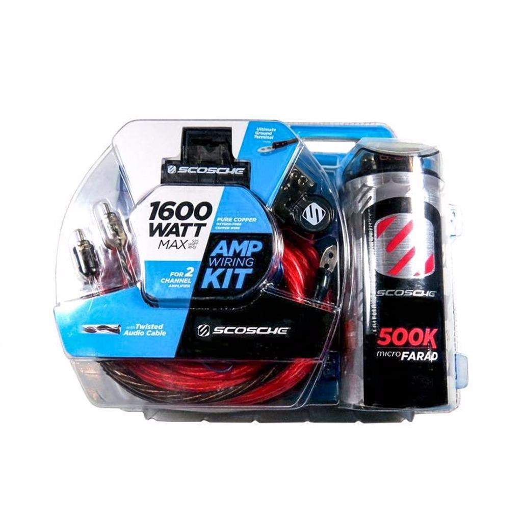 Scosche KPCA4C 1600 W 4-Gauge Car Amplifier Wiring Install Kit w/ 0.05F  Stif Cap. BRAND NEW SCOSCHE KPCA4C 4 Gauge Car Stereo Amplifier Wiring ...