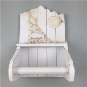 en bois blanc porte rouleau papier toilette avec shell d tail nautique maison ebay. Black Bedroom Furniture Sets. Home Design Ideas
