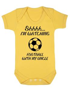 """Football Baby Gift Baby Grow /""""Shhh I/'m Watching Football With My Uncle/"""""""