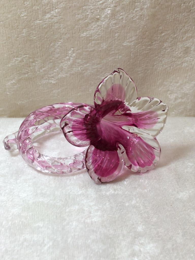 Vintage Glasstar Bohemia Czech Art Glass Purple Trumpet Flower