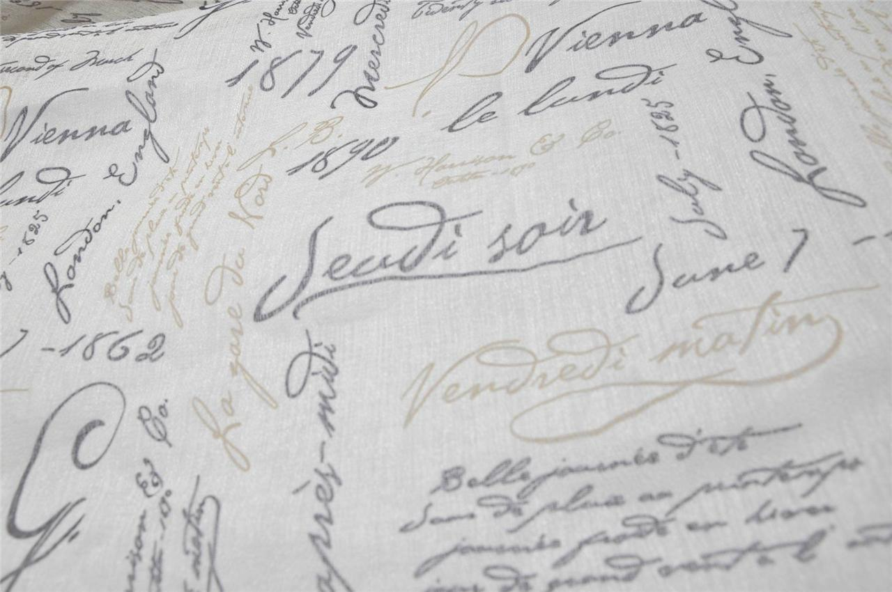 French Script Faux Linen Sheers Window Curtains Panels