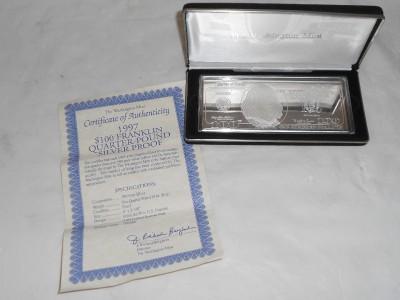 1997 Washington Mint 4 Troy Oz 999 Silver 100 Hundred