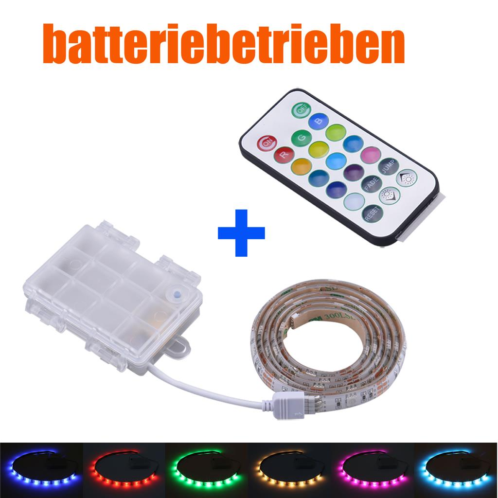 batterie betrieben led rgb strip fernbedienung mehrfarbig leiste controller ebay. Black Bedroom Furniture Sets. Home Design Ideas