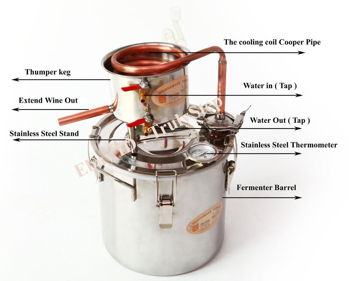 827434484_o 10 L Alambique Destilador Cobre Enfriador Termometro Vino Agua Esencial Aceite