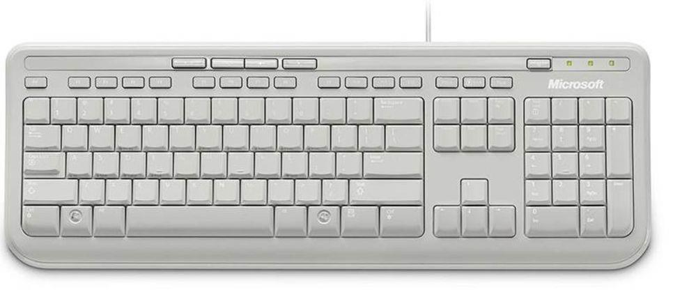 keyboard microsoft wired 600 keyboard usb 3 year warranty windows mac white new 877435000253 ebay. Black Bedroom Furniture Sets. Home Design Ideas