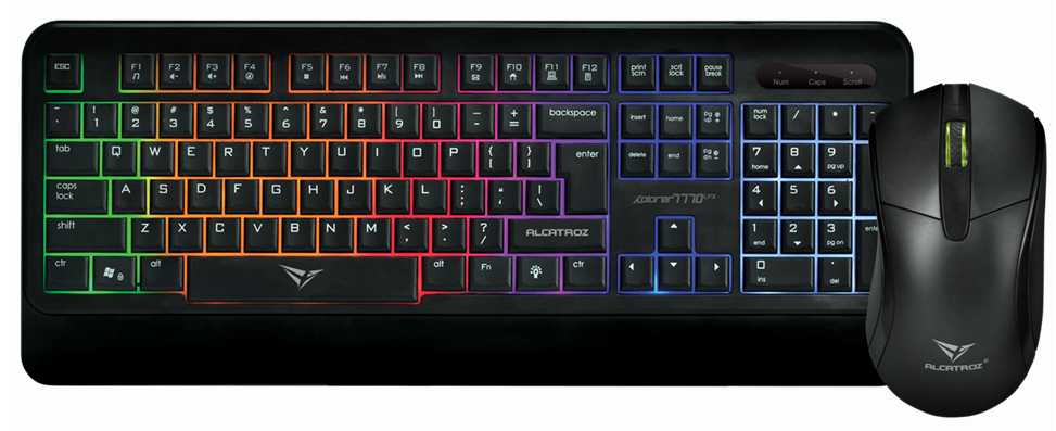 Details about Gaming Keyboard and Mouse Alcatroz Xplorer 7770 Desktop Combo  USB 9 Colour LED