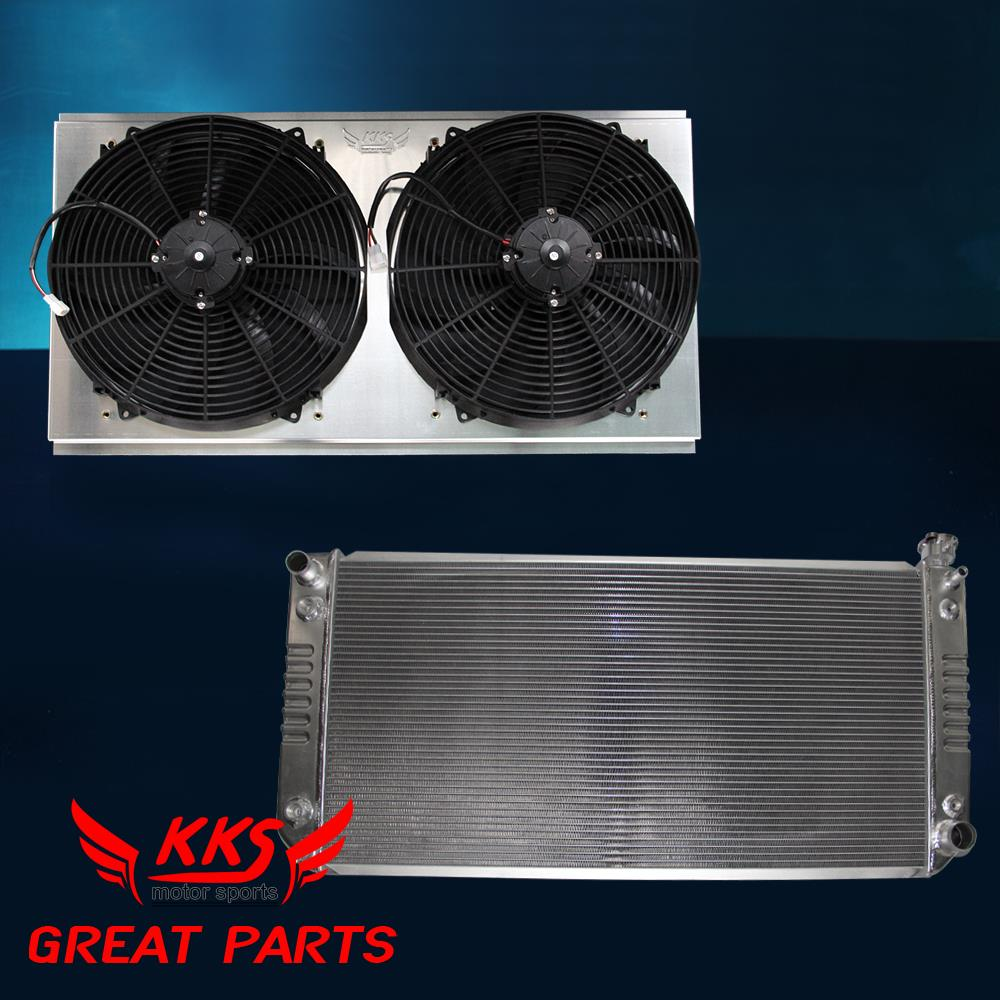 "KKS RADIATOR SHROUD W//2x16/"" FAN FIT 94-99 CHEVY C//K 1500 2500 SUBURBAN 5.7L GAS"
