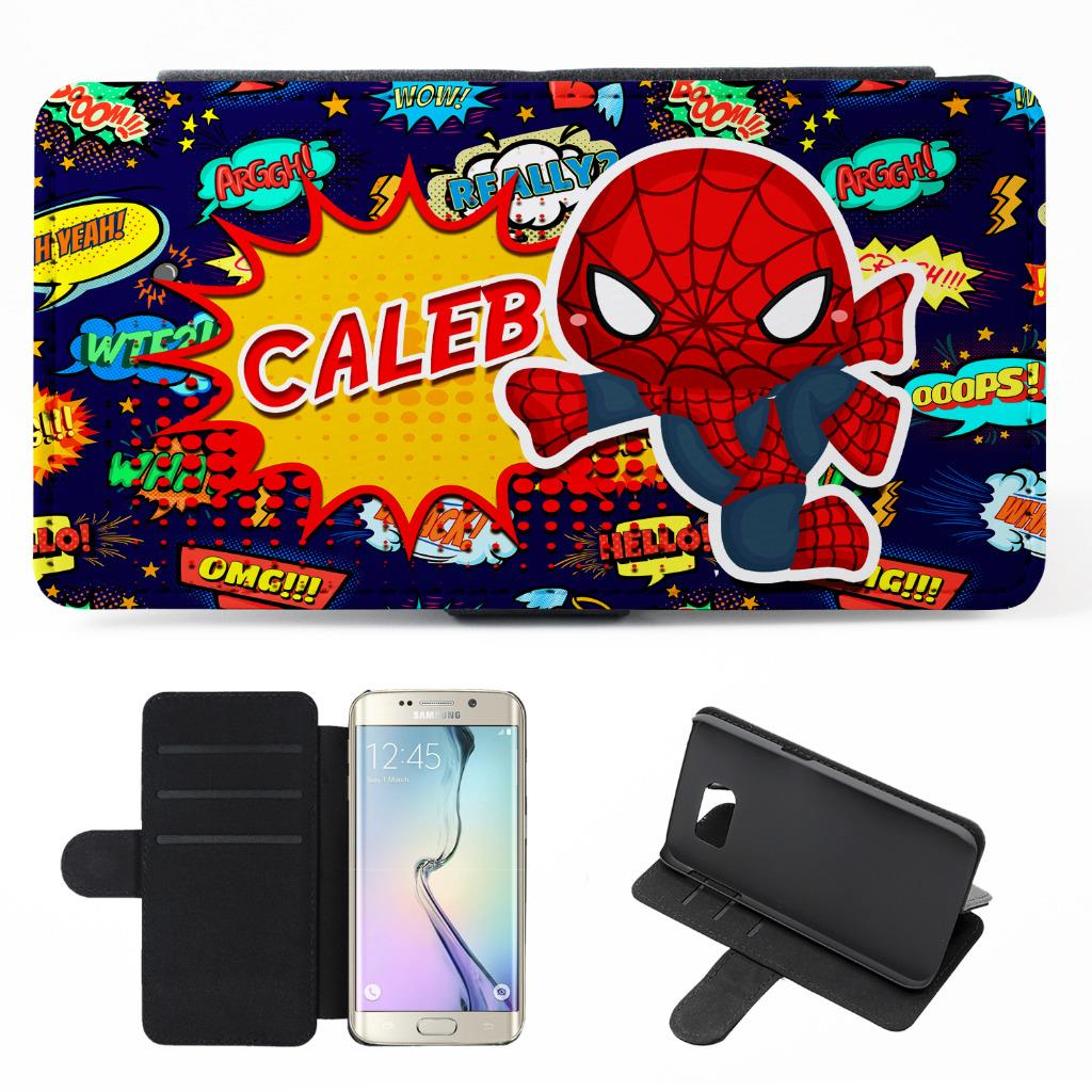 new products 89de5 91bbd Details about Personalised Samsung Galaxy Phone Case SPIDERMAN Flip Cover  Superhero KSP128