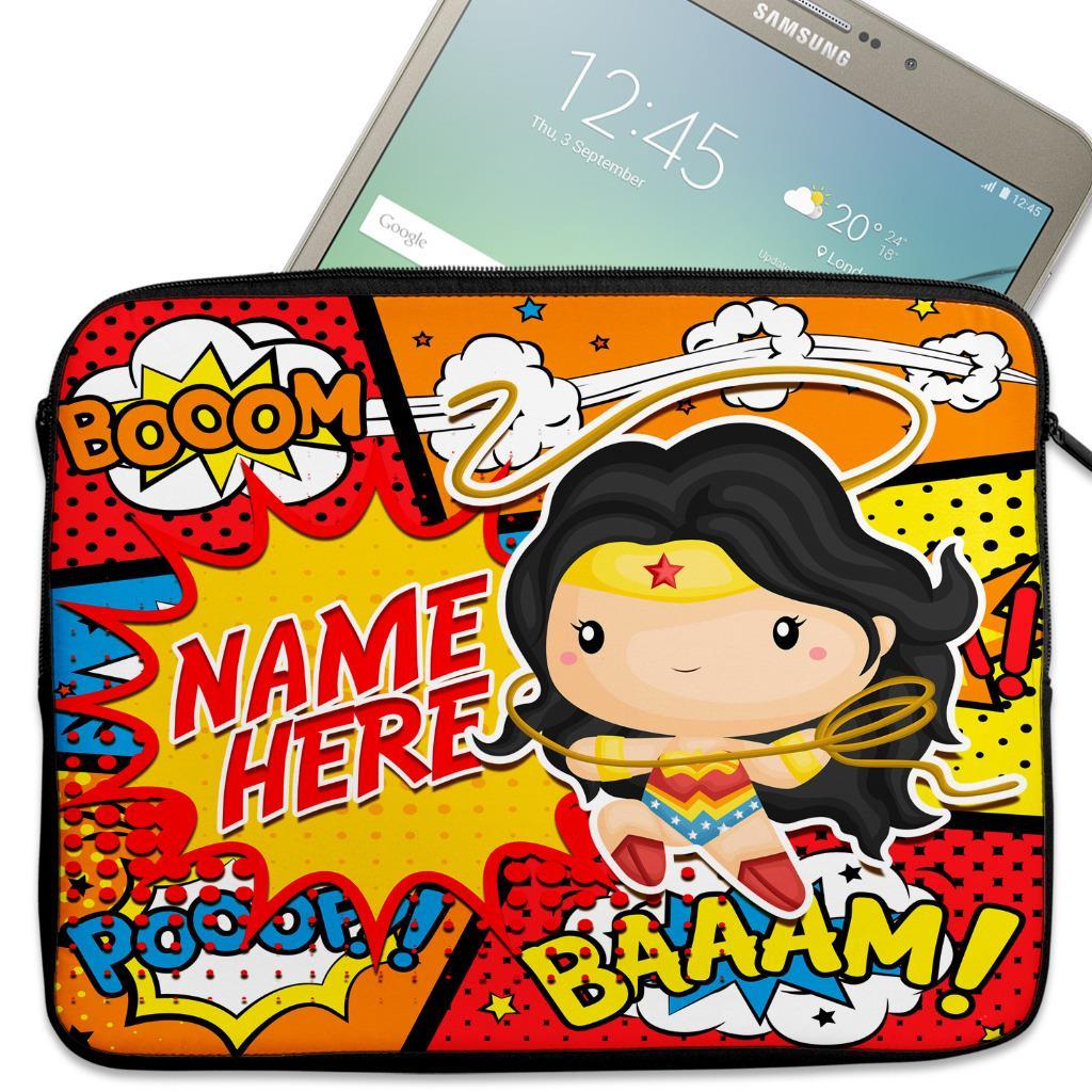 Details about Personalised Tablet Cover WONDER WOMEN Neoprene Hero Sleeve  Case 7